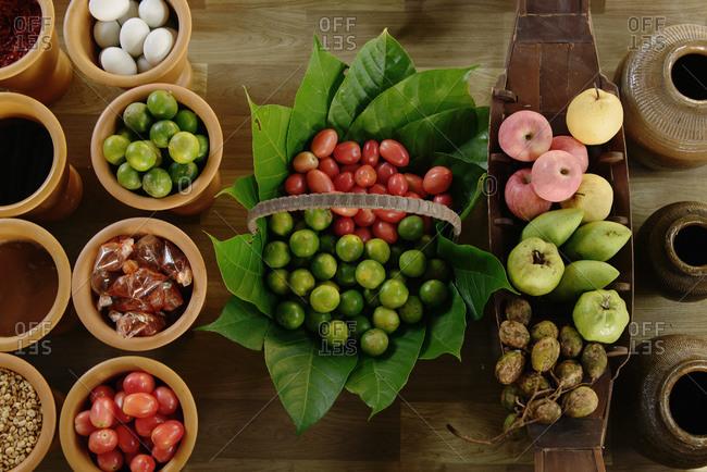 Fresh fruit display, floating market, Bangkok, Thailand