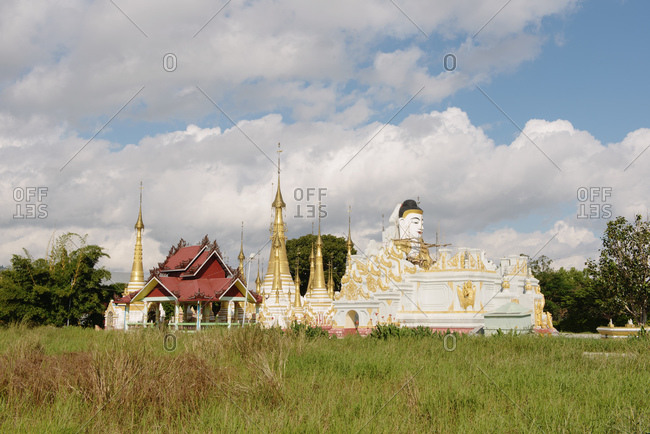 December 14, 2013: Buddhist temple with buddha face, Nyaung Shwe, Inle Lake, Burma