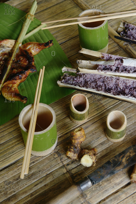 Bamboo cooking, rice and chicken, Chiang Rai, Thailand