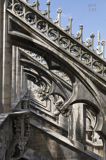 View of buttresses Milan Cathedral, Milan, Lombardy, Italy