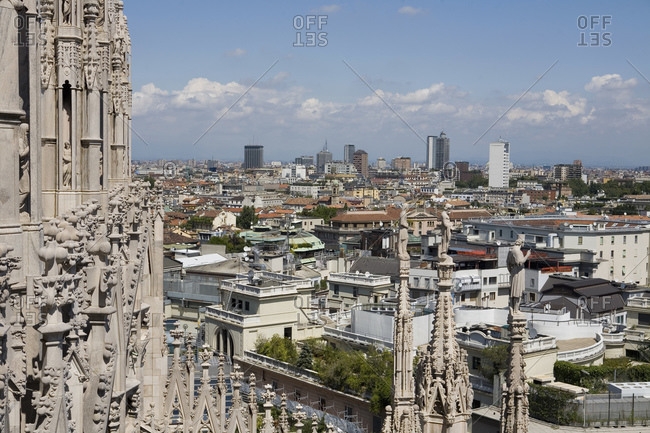 Milan cityscape from Cathedral, Milan, Lombardy, Italy