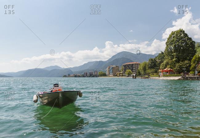 Motor boat on lake, Omegna, Italy
