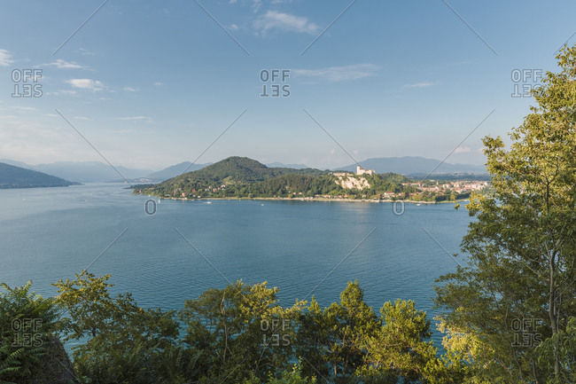 View of Angera and Rocca Borromeo across Lake Maggiore, Italy