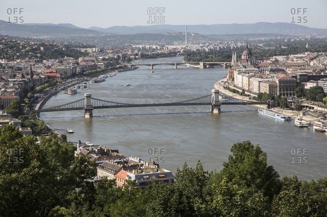 Aerial view of Danube River, Budapest, Hungary