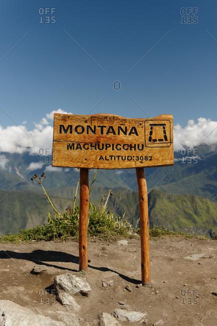 Montana Machu Picchu sign, Machu Picchu, Peru, South America