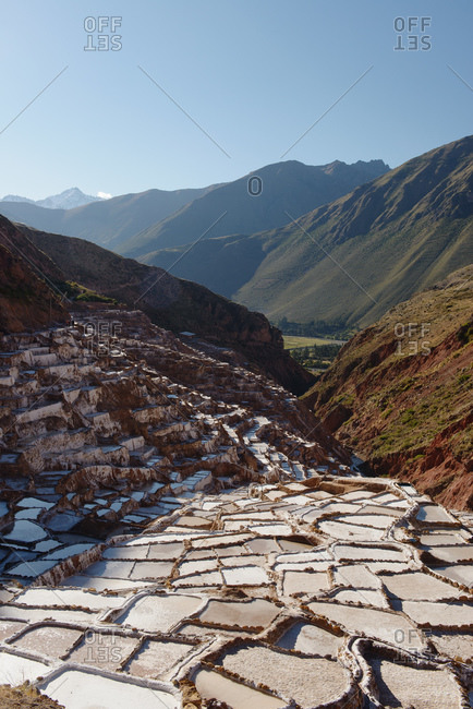 View of salt pools and mines, Maras, Sacred Valley, Peru, South America