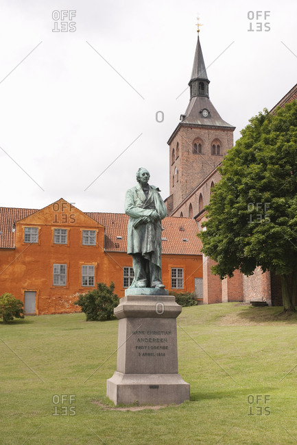 July 23, 2009: Hans Christian Andersen Statue, Andersen's Park, Odense Cathedral, Odense, Denmark