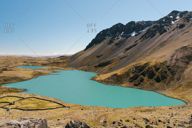 Lake and mountains, Ausangate, Willkanuta mountain range, Andes, Peru