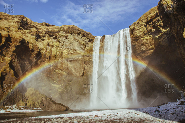 Skogafoss waterfall and rainbow, Iceland