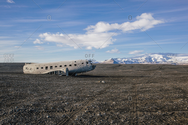 Abandoned wreckage of United States Navy airplane