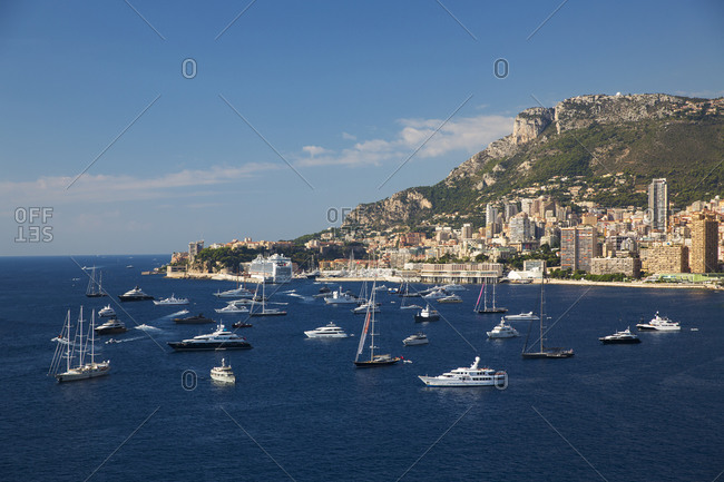 Coastal view with luxury yachts and boats, Monte Carlo, Monaco