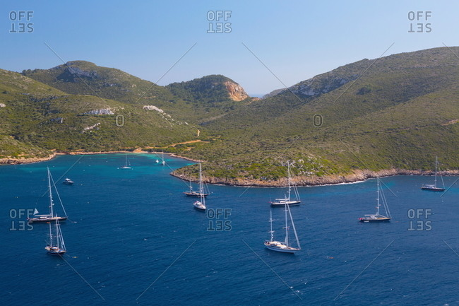 View of yachts and sea, Cabrera National Park, Cabrera, Balearic Islands, Spain