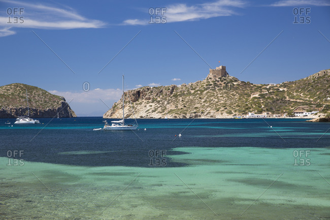 Distant view of castle on coastline, Cabrera National Park, Cabrera, Balearic Islands, Spain