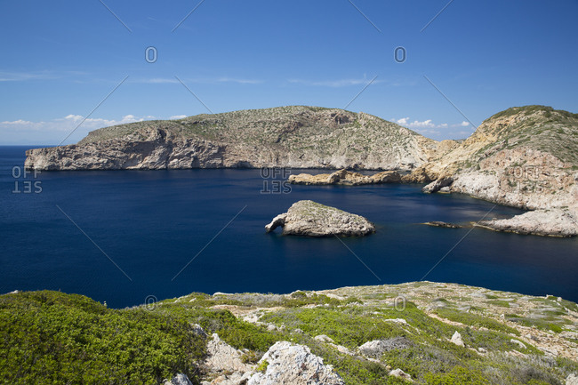 View of rock formations and bay, Cabrera National Park, Cabrera, Balearic Islands, Spain