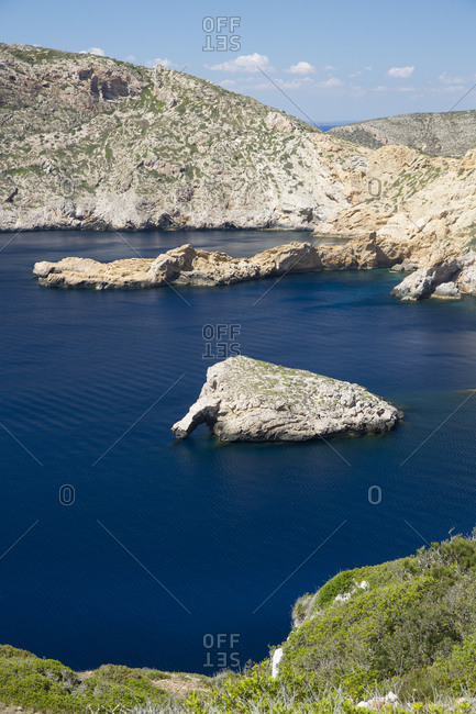 View of rock formations in bay, Cabrera National Park, Cabrera, Balearic Islands, Spain