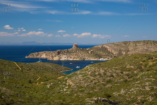 Distant view of castle and bay, Cabrera National Park, Cabrera, Balearic Islands, Spain