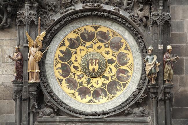 Detail of astronomical clock on Tyn Church, Prague, Czech Republic