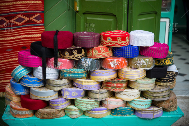 Hats on market stall, Tunis, Tunisia