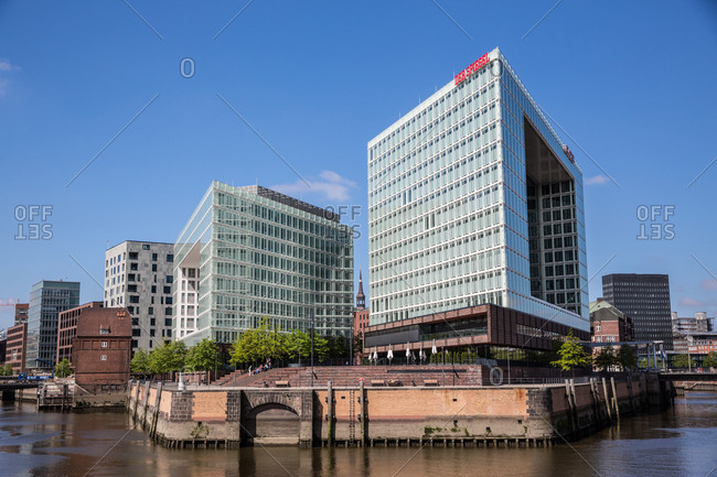 May 17, 2014: View of apartment and office block waterfronts, HafenCity, Hamburg, Germany