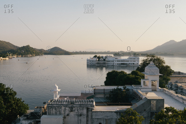 View of Lake Palace hotel on Lake Pichola, Udaipur, Rajasthan, India