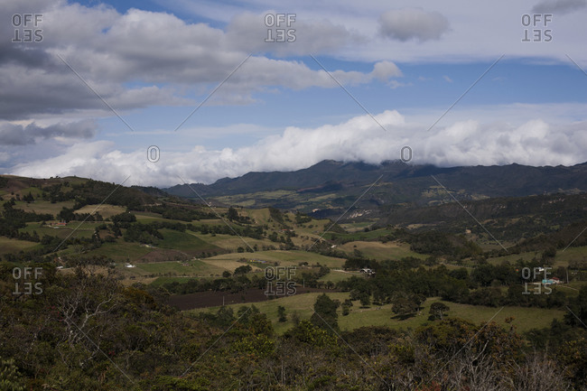 View of agricultural landscape, Guatavita, Colombia, South America