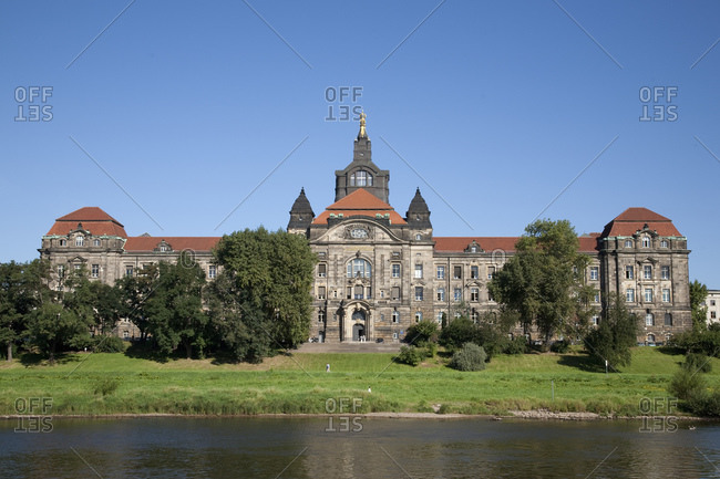 Elbe river and Pilnitz castle, Dresden, Germany
