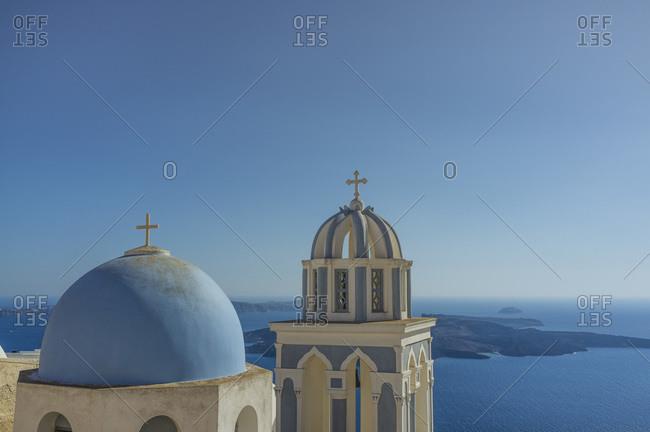 View of domed churches and sea, Oia, Santorini, Greece