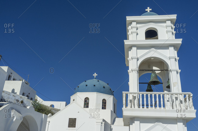 View of domed church and bell tower, Oia, Santorini, Greece