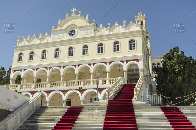 August 11, 2020: View of Our Lady of Tinos Church with red carpet on stairs, Tinos Island, Greece
