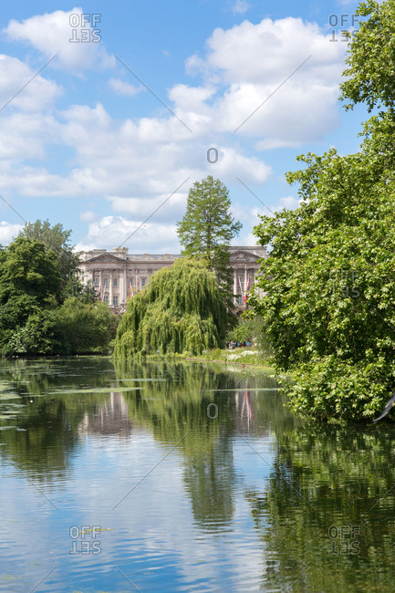 View of Buckingham Palace from St James Park, London, UK