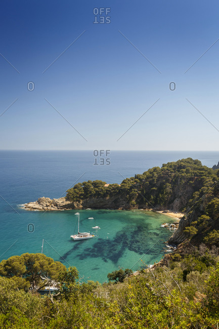 Elevated view of Tossa de Mar beach, Costa Brava, Spain