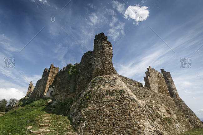 Low angle view of XIII century Castle of Montsoriu, Costa Brava, Spain