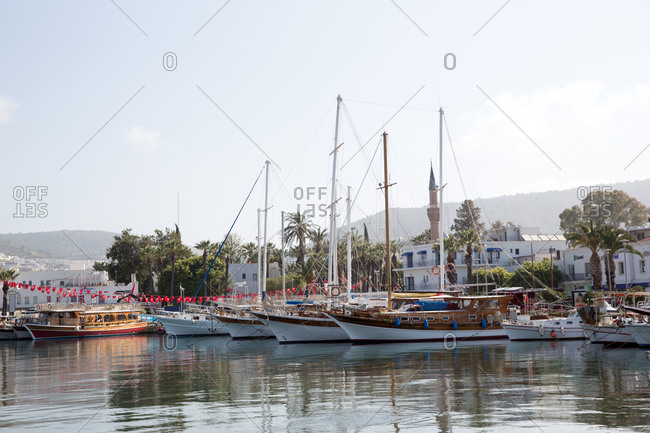 Sailboats moored in Bodrum harbor, Turkey