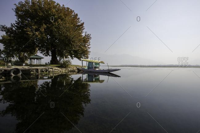 Shikara or Love Boat iconic to Lake Dal, Srinagar, Jammu and Kashmir, India