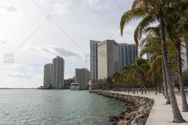 Skyscraper on shoreline, Downtown Miami, Miami, Florida, USA
