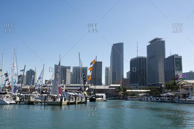 February 14, 2015: Bayside marina and Miami skyline, Downtown Miami, Miami, Florida, USA
