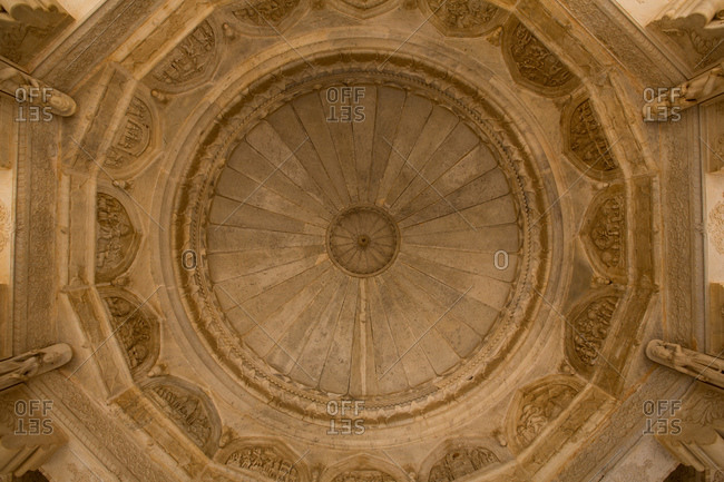 Detail of domed ceiling at royal cenotaph in Gaitore, Jaipur, Rajasthan, India