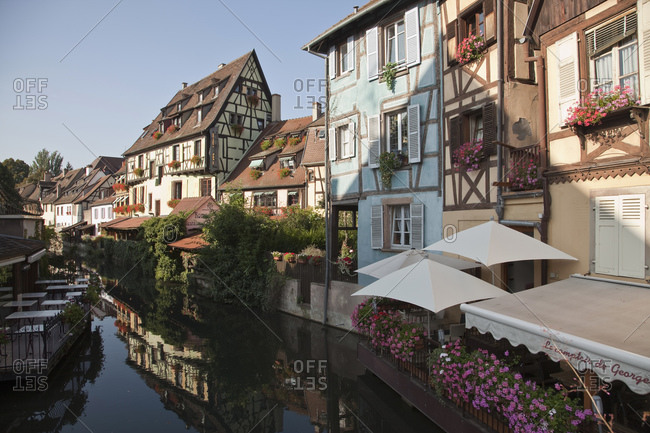 September 4, 2010: Medieval houses along canal, Colmar, Alsace, France. Alsatian Wine Route