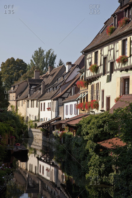 Medieval houses along canal, Colmar, Alsace, France. Alsatian Wine Route