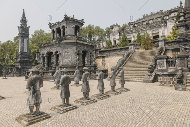 Row of statues at Minh Mang Tomb, Hue, Vietnam