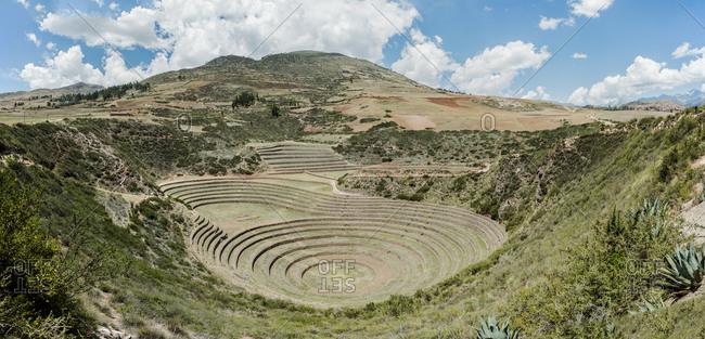 View of Moray ruins, Cusco, Peru