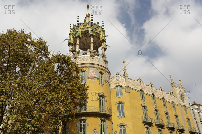 Ornate carved stone tower of Andreu tower, Barcelona, Catalonia, Spain, Europe