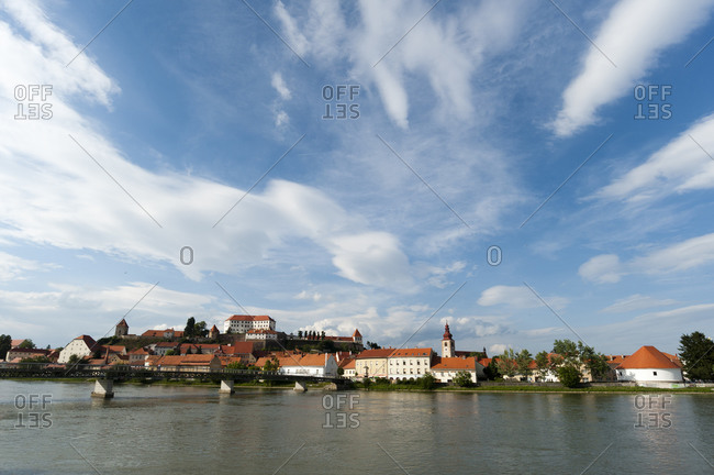 View of Ptuj on Drava river (the oldest town in Slovenia), Brezovica Commune, Slovenia
