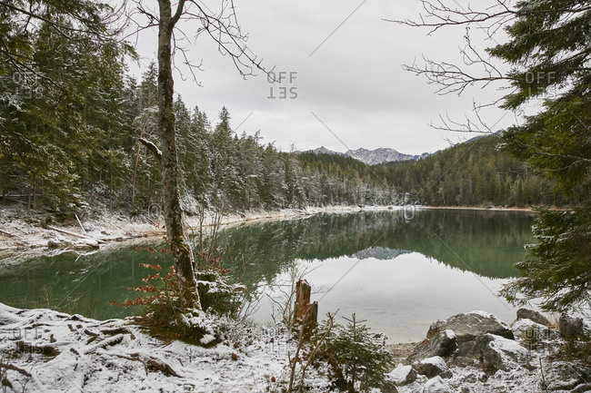 Snowy landscape at Lake Eibsee, Zugspitze, Bavaria, Germany