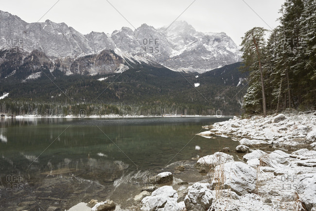 Lake Eibsee and mountains in snow, Zugspitze, Bavaria, Germany