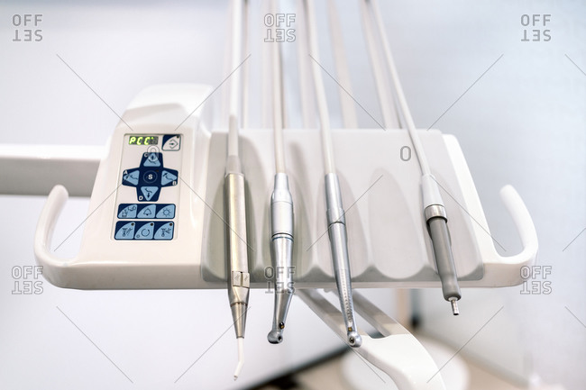 Close up of tools in an exam room in a dental clinic