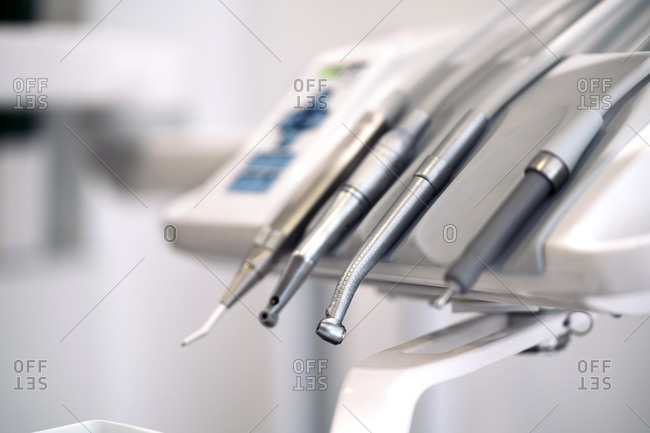 Close up of tools in an exam room in a dentist office