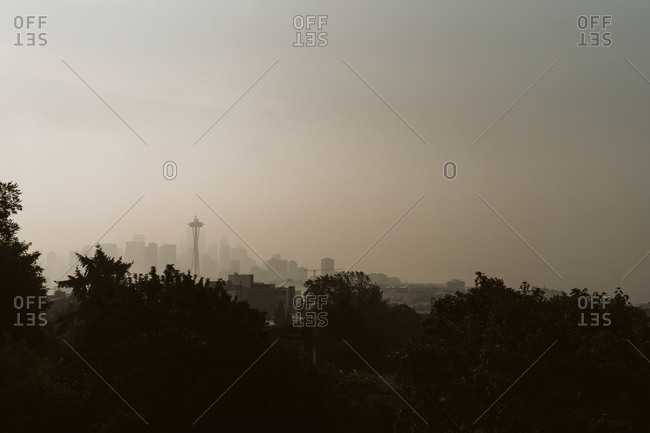 Wildfire haze over the city of Seattle Washington