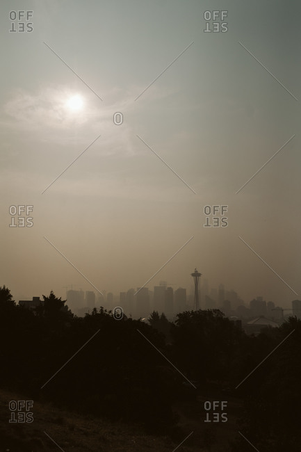 Haze from wildfires over the city of Seattle Washington