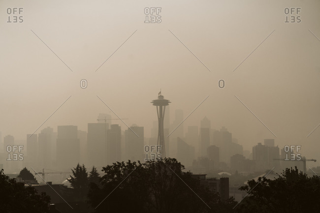 Seattle, Washington, USA - September 11, 2020: View of the Seattle skyline under wildfire haze during the 2020 wildfires